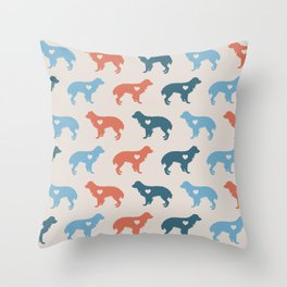 Valentine's dog surface pattern (red-blue small) Throw Pillow