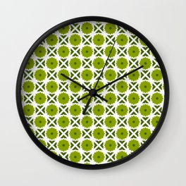 Flowers and spikes – green Wall Clock
