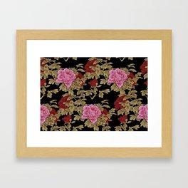 Japanese Peony Floral - Black Framed Art Print