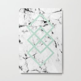 White Marble Concrete Look Mint Green Geometric Squares Metal Print