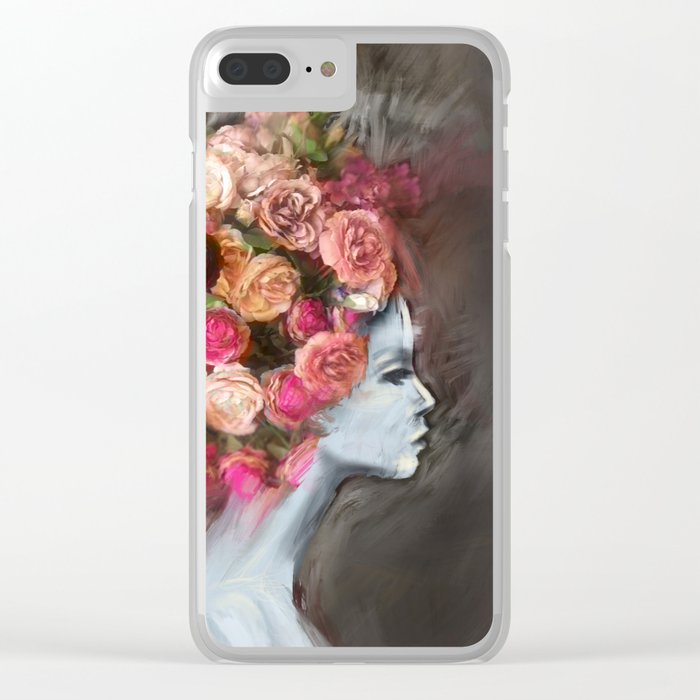 Flower Bloom Girl Clear iPhone Case