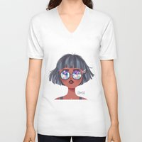 kaleidoscope V-neck T-shirts featuring Kaleidoscope by Anoosha Syed