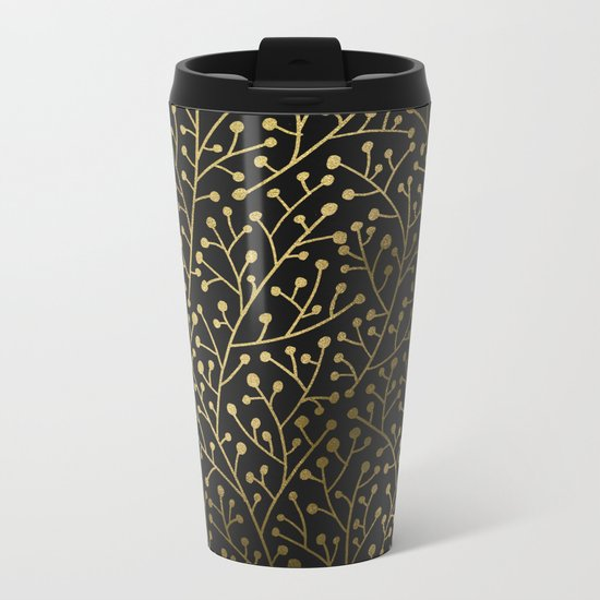 Gold Berry Branches on Black Metal Travel Mug