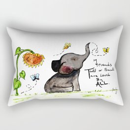 Friends are Loved by All - Baby Elephant Sunflower Butterflies Art by Annette Bailey Rectangular Pillow