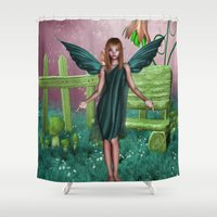 sparkles Shower Curtains featuring Raining Sparkles by Fairytale Art