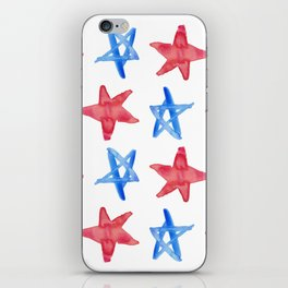 Red and Blue Stars iPhone Skin