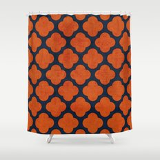 navy and orange clover Shower Curtain