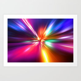 acceleration speed motion on night road Art Print