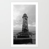 Black & White lighthouse Art Print