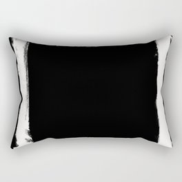 Square Strokes White on Black Rectangular Pillow