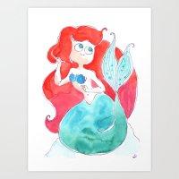 ariel Art Prints featuring Ariel by Elise Lesueur