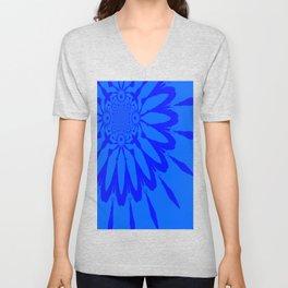 The Modern Flower Blue on Blue Unisex V-Neck