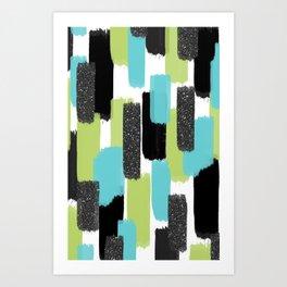 Turquoise and Black Glitter Art Print