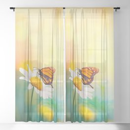 Flowers With Butterflies in the spring garden illustration Sheer Curtain