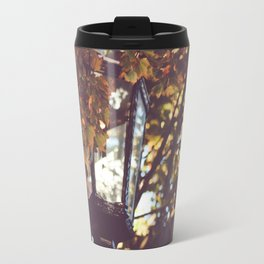 autumn leaves, lamp post Travel Mug