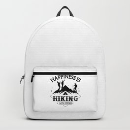 Happiness Is Hiking With Friends bw Backpack