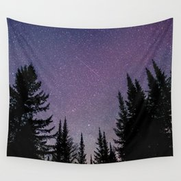 North Woods Starry Night Pines Wall Tapestry