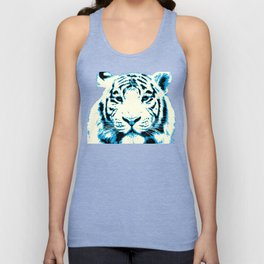 white tiger, pop art style portrait Unisex Tank Top