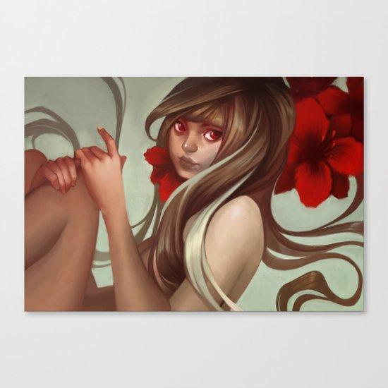 Crimson petals Canvas Print