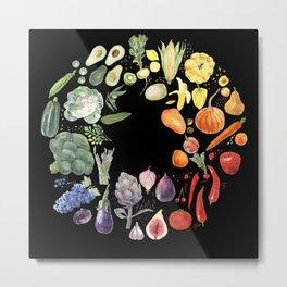 Vegetables fruits and berries on black Metal Print