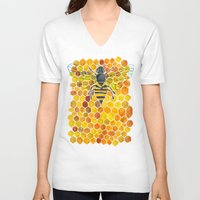 honeycomb V-neck T-shirts featuring Bee & Honeycomb by Cat Coquillette