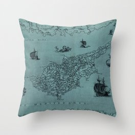Map Of Cyprus 1569 Throw Pillow