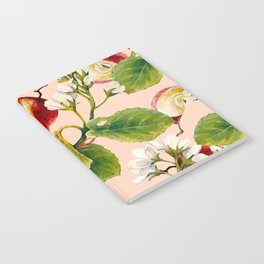 White apple blossoms and apples Notebook