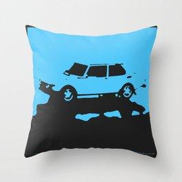 Saab 99 EMS, Light Blue on Black Throw Pillow
