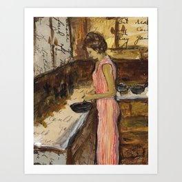 Female Figure Cooking Painting Collage Art Print