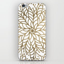 Elegant white faux gold floral trendy mandala iPhone Skin