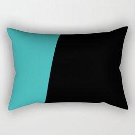 Stripes Black Muted Teal Asymmetrical Rectangular Pillow
