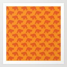 Triceratops on Orange Art Print