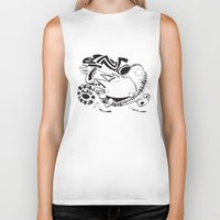 calvin and hobbes Biker Tanks featuring Calvin and Hobbes line-work caricature design by Eric Goodwin
