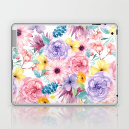 Modern elegant pink lavender yellow watercolor floral Laptop & iPad Skin