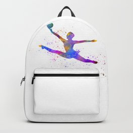 Young woman practices rhythmic gymnastics in watercolor 15 Backpack