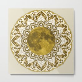 GOLD MOON MANDALA Metal Print