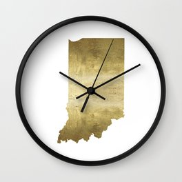 indiana gold foil state map Wall Clock