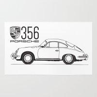 porsche Area & Throw Rugs featuring porsche 356 by kartalpaf