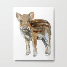 Baby Wild Boar watercolor Metal Print