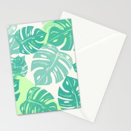 Linocut Monstera Green Stationery Cards