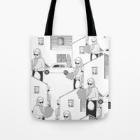 the neighbourhood Tote Bags featuring Into the neighbourhood by Fiona Kate