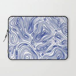 Topographical Lines in Blue Laptop Sleeve