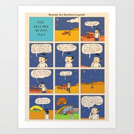 Beyond the Stardust Lagoon: Newspaper Print Art Print