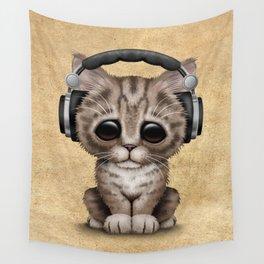 Cute Kitten Dj Wearing Headphones Wall Tapestry