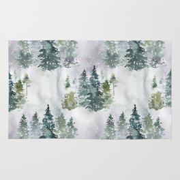 Artistic hand painted green white watercolor trees polka dots Rug
