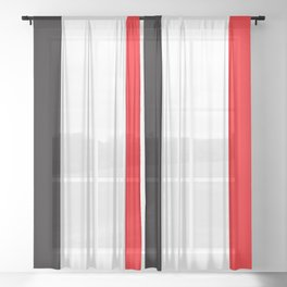TEAM COLOR 7... red, black Sheer Curtain