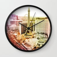 las vegas Wall Clocks featuring Las Vegas by EmilyBest