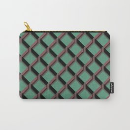 Mint Green and Pink Diamond Pattern Design Carry-All Pouch