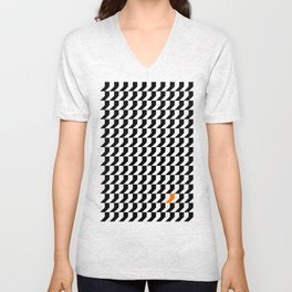 Orange: Black And White Pattern Unisex V-Neck