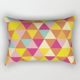 Orange yellow pink geometrical abstract triangles Rectangular Pillow